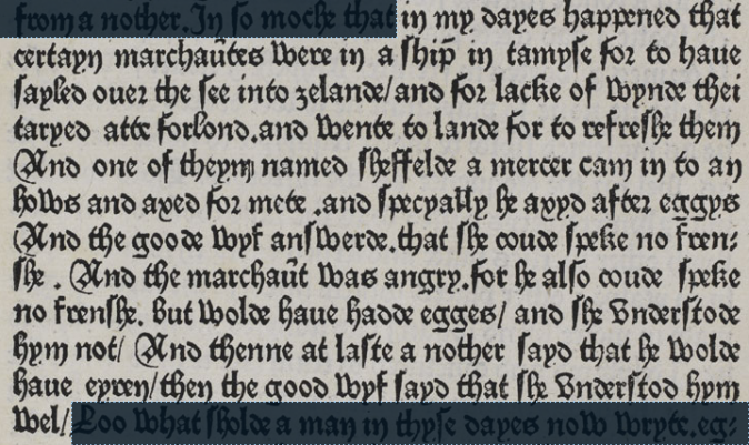 "Screenshot of a portion of a page from Caxton's _Eneydos_,   transcribed below.  The font is a dense ""black letter"" style, with   thick vertical strokes and angular shapes."