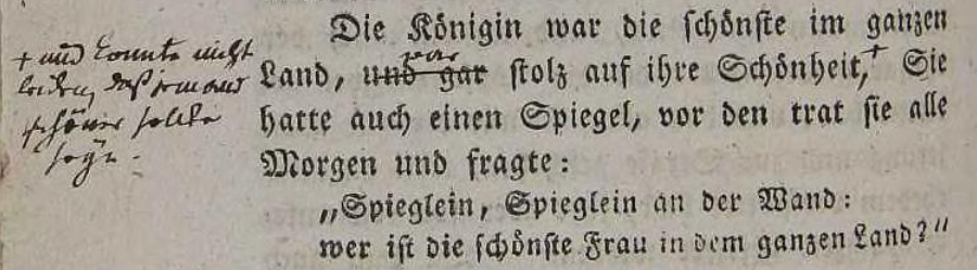 Screenshot of the original 1812 text of _Kinder und Hausmärchen_, which reads as I quoted above.