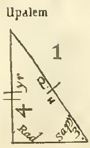 "A right triangle, labeled 'Upalem'.  Let us call the legs X, Y, and the hypotenuse H, although these names do not appear in the diagram. <br /> H is crossed by a single mark, Y two marks.  Inside the figure, the hypotenuse is labeled 'p.' and with something that might be capital 'H' or lowercase 'u'.  The angle between H and X is labeled 'sapy 3.'.  The right angle between X and Y is labeled ""Rad"".  Near side Y are the notations ""4"" and ""yr""."