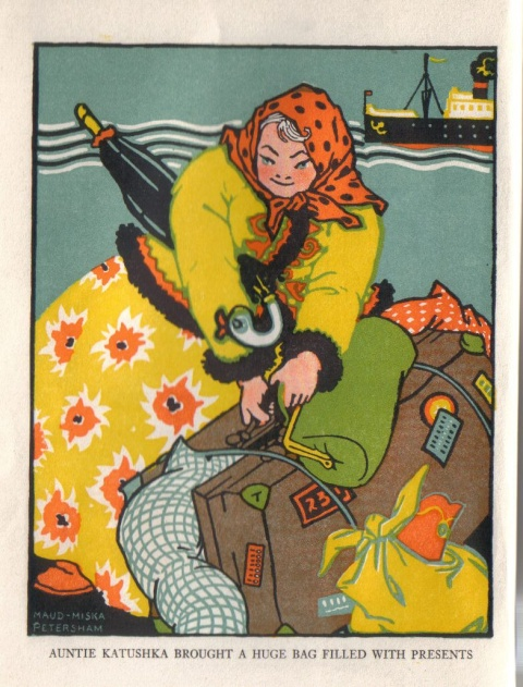 Auntie Katushka is a smiling woman in a yellow dress with large orange flowers, a jacket trimmed with black fur, and a polka-dotted kerchief tied on her head.  A stray lock of white hair escapes from the front of the kerchief.  She is managing a very large, overflowing valise, barely held closed by blue string.  She also carries a green handbag, and has an umbrella under her arm whose handle is shaped like a duck.  In the background is a steamship.