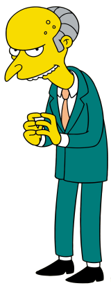 Montgomery Burns, from 'The Simpsons', in his characteristic pose: scowling, hunched, with his fingertipes pressed together nefariously.