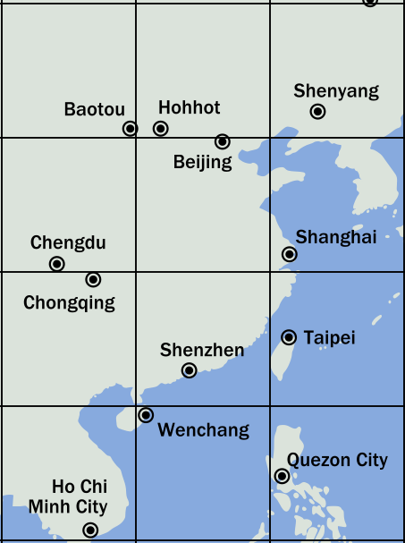 Eastern and central China, three boxes wide and four tall.  The cites in order from right to left in rows are: 1. Baotou, Hohhot, Shenyang; 2. Chengdu, Beijing, Shanghai; 3. Chongqing, Shenzhen, Taipei; 4. Ho Chi Min City (Vietnam), Wenchang, Quezon City (Philippines).