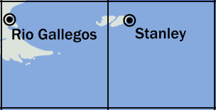Map of the southern tip of South America.  There is a west box, containing the very end of Tierra del Fuego, and an east box.  The tiny Falkland Islands straddle the boundary between the two boxes, with their capital city, Stanley, in the eastern box.