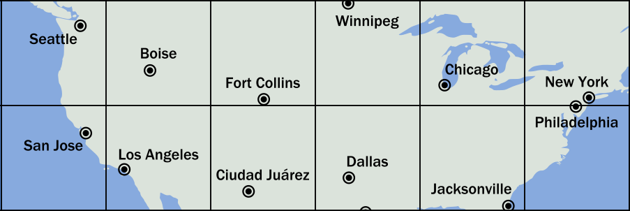 a small region, six squares wide by two high, including most of the continental US. The cities in the north six squares are: Seattle, Boise, Fort Collins (Colorado), Winnipeg (Canada), Chicago, New York.  In the south squares the cities are San Jose, Los Angeles, Cuidad Juárez (Mexico), Dallas, Jacksonville, Philadelphia.