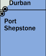 An even tinier corner of South Africa, just south of Durban.  This time less than 1% of the box contains land, with Port Shepstone marked. Durban is just barely in the next box north.
