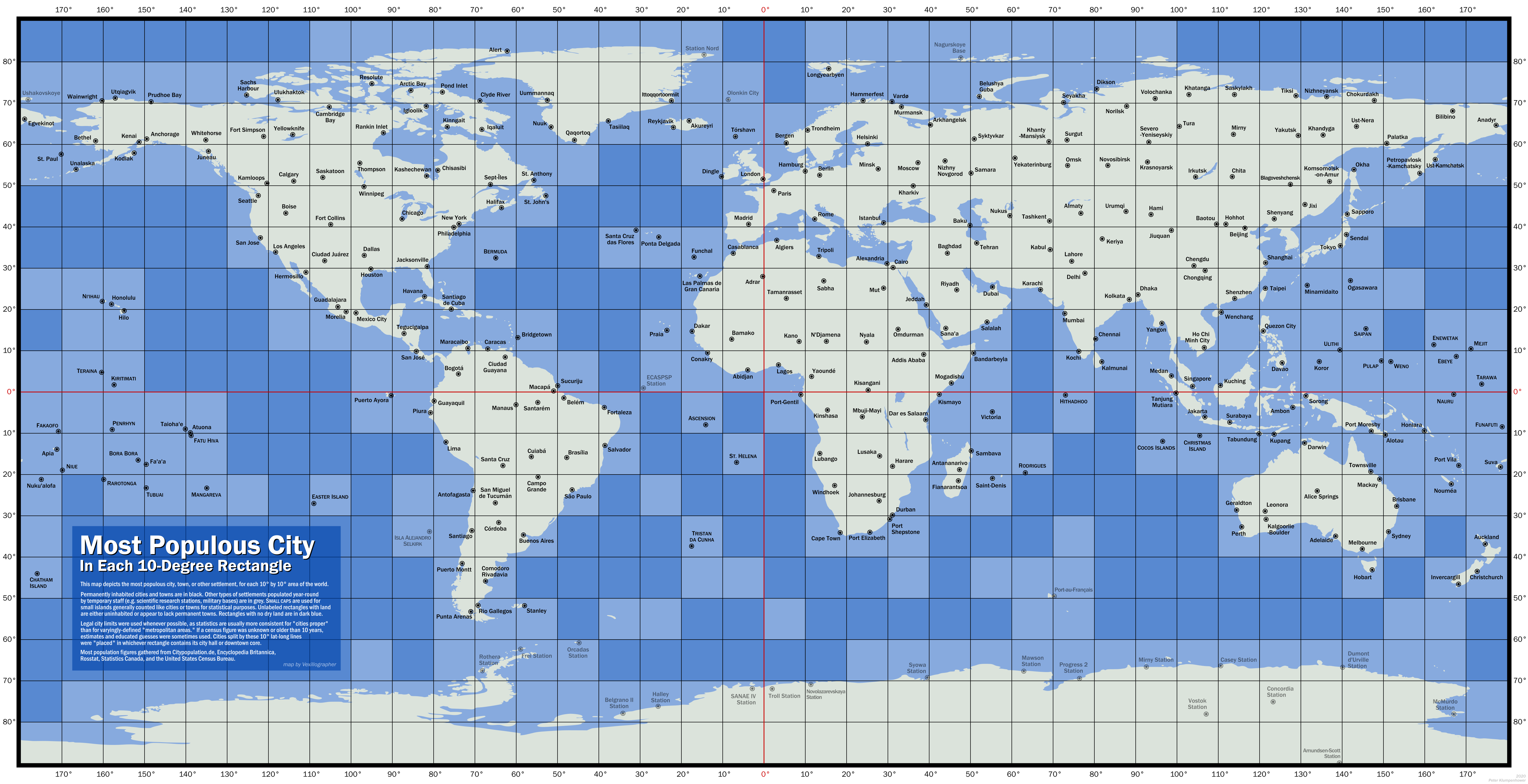 Equirectangular map of the world, divided into squares, each 10 degrees in latitude and longitude.  Most of the squares have a settlement marked, usually a large city such as Moscow, London, or New York.  But many of the settlements are much smaller, especially in Micronesia (Kiritimati, Bora Bora, Fa'a'a) and the polar regions (Nizhneyansk, Utquiagvik, Akureyri).