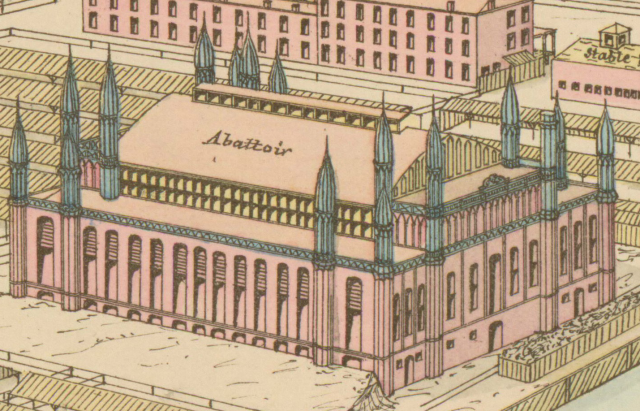 An isometric drawing of the  abbatoir, which  is a handsome and ornate building, featuring four blue spires at each corner.