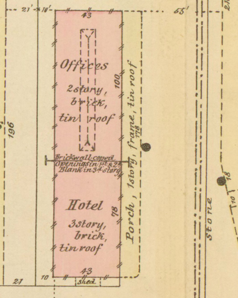 Plan of the buildings, including descriptions (Offices, 2 story, 43 feet by 78; hotel, 3 story, 43 feet by 100; both brick with tin roof) and other details.