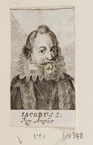 "1688 engraved portrait of Kimg James I of England, cpationed ""IACOBUS I · Rex. Angliæ"". James is shown from the chest up, wearing a stiff lace ruff and a dark, close-fitting jacket of some sort. His beard (chin only) is cut in a square and the ends of hus mustache turn up.  His hairline has receded and left a little tuft in the middle of the top of his head. His eyes are wide and bright, and his lips slightly upturned, giving him an appearance of private amusement."