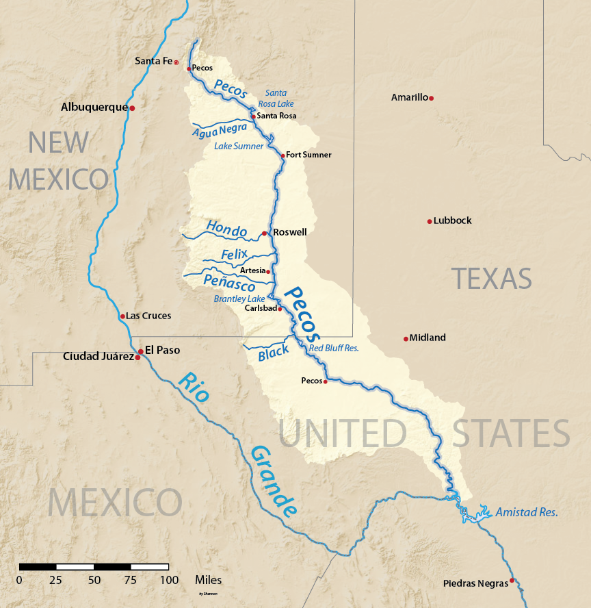 Map of the above, showing the Pecos River and Rio Grande, both flowing roughly from northwest to southeast.  The Grande flows south past Albuquerque, NM, and then becomes the border between Texas and Mexico.  The Pecos flows through New Mexico past Brantley Lake and Carlsbad, then into the Texas Red Bluff Reservoir, and eventually into the Amistad Reservoir on the Texas-Mexico border.