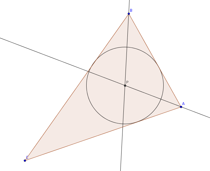 The triangle, as described, with the two angle bisectors drawn and their intersection at P.  Centered at P is a circle that is tangent to all of AB, BC, and CA at the same time.