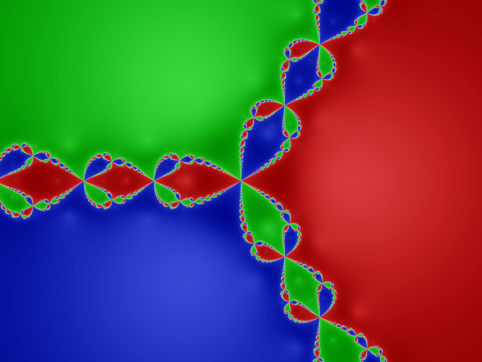 Julia set for the rational function associated to Newton's method for ƒ:z→z³−1.  The plane is divided symmetrically into three regions, colored red, green, and blue.  The boundary of each two regions (red and green, say) is inhabited by a series of leaf shapes of the third color (blue), and the boundaries between the main regions (green, say) and the (blue) leaves are inhabited by smaller leaves again of the other color (red), and so on ad infinitum.  The boundaries are therefore an infinitely detailed filigree of smaller and smaller leaves of all three colors.
