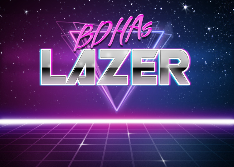 "Dated '80s graphic featuring neon-lit brushed-metal letters that say ""BDHAs LAZER"""