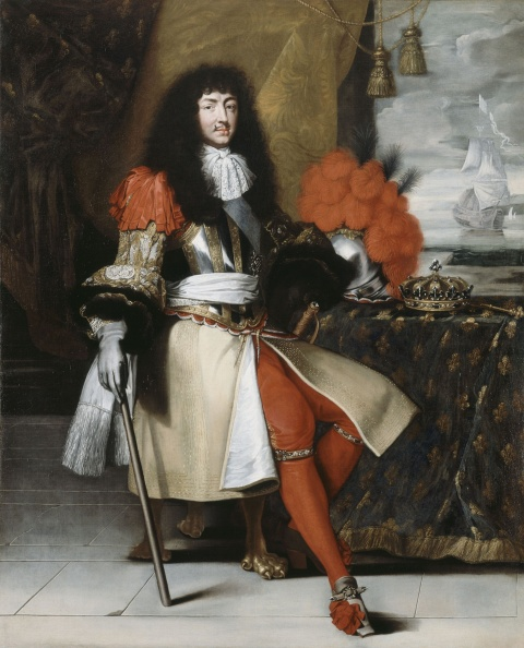 Louis around age 32. He wears a steel breastplate and a skirt that comes past his knee, but it is slit at the front and turned bake so that both his legs are visible from the top of the thigh to the foot. His legs are clad in skin-tight crimson hose with diamond garters, and his high-heeled shoes have matching crimson bows.