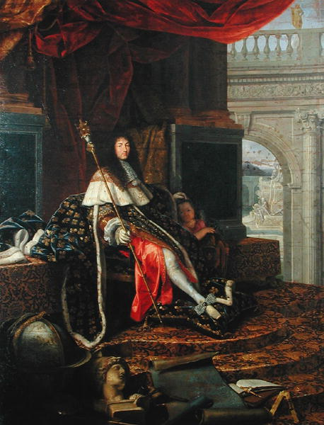 Louis age 29 again.  He is seated, again wearing the coronation robes but his right leg is thrust out, resting on a pillow, and is visible from the knee down.  Again he is wearing sheer white hose and the square-toed white shoes.