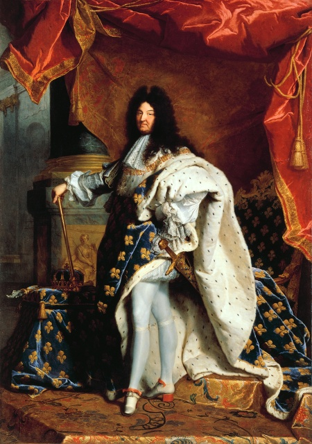 Perhaps the best-known portrait of Louis, by Hyacinthe Rigaud, the King is 63 years old.  Again he is in three-quarter profile.  Although is upper body is cloaked in heavy robes, both legs are clearly visible, clad in tight white hose, prominently displayed from the thighs down.  Again he has white garters just below the knees, this time without ruffles  His shoes are white with brown platform heels and square diamond-studded buckles.
