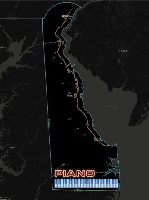 I colored this map of Delaware in the same style as the album cover, with the state border in neon blue, the keyboard and PIANO label placed down at the southern edge.  The twelve-mile circle at the north end becomes the rounded back edge of the piano.  The Maryland border is the straight left edge. The silhouette cutout at the upper right is Delaware Bay.  Delaware is more elongated than the piano, but the shapres are quite similar.