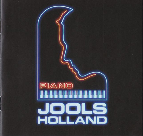 "Cover of jools Holland's 2017 Album ""Piano"" features the shape of a grand piano outlined in blue neon, with a silhouette of Holland's face cut out the of  the upper register, a blue keyboard, and the word PIANO in red neon above the keyboard."