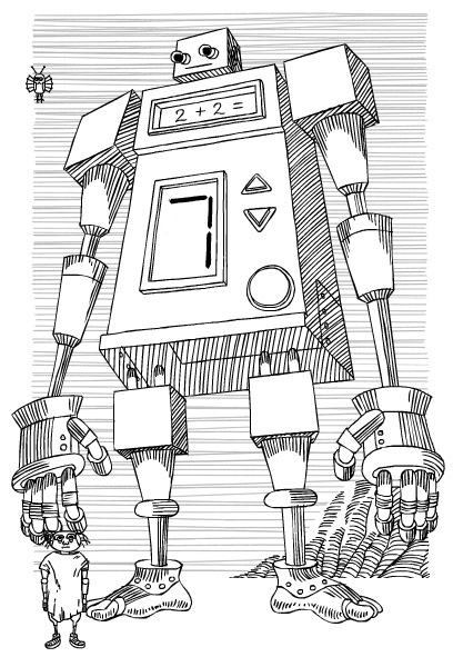 "An illustration, in the style of the illustration from Stanislaw Lem's ""The Cyberiad"", depicting a giant humanoid computer proudly displaying the problem ""2 + 2 ="" and its solution, ""7"", on its front panel."