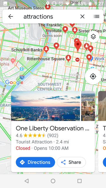 Screenshot of Google maps information about the Liberty Place observation deck