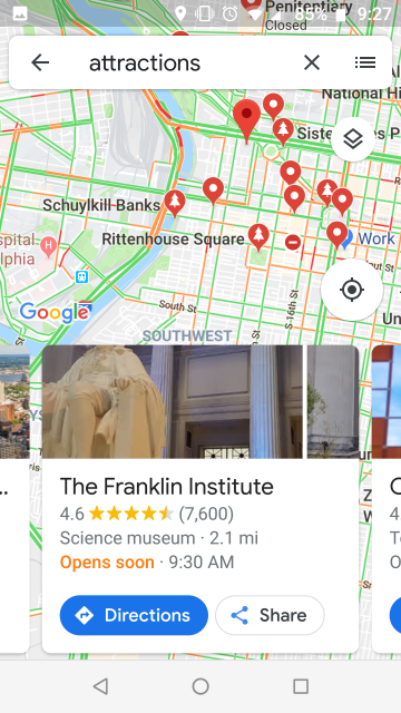 Screenshot of Google maps information about the Franklin Institute