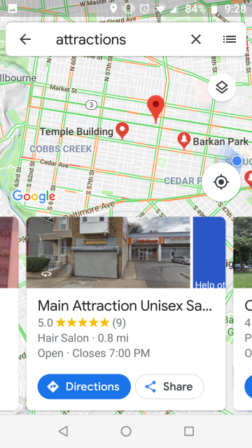Screenshot of Google maps information about The Main Attraction Unisex Hair Salon in West Philadelphia