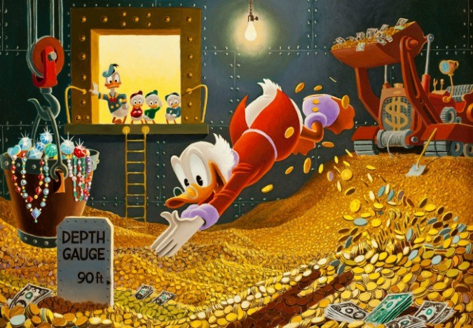 Scrooge McDuck diving into a pile of gold coins
