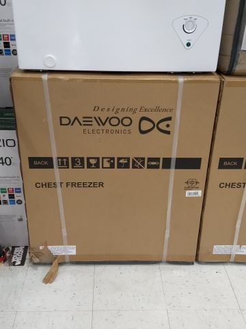 A Daewoo Electronics box labeled CHEST FREEZER