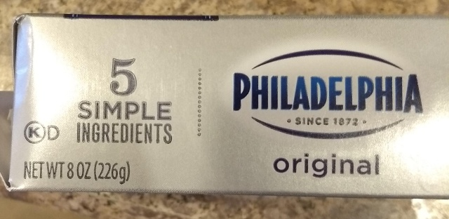 "The box from a half-pound of Philadelphia brand cream cheese, which boasts ""5 SIMPLE INGREDIENTS""."