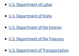 A screenshot of part of the USA.gov page, listing in order, the departments of Labor, State, the Interior, the Treasury, and Transportation