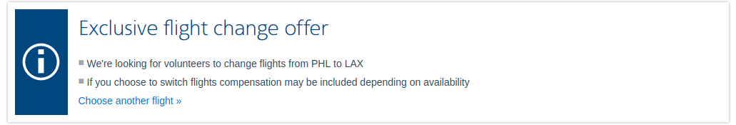 """They are offering me a discount on a future flight if I agree to switch off of the overbooked flight.  The offer is labeled """"Exclusive flight change offer""""."""