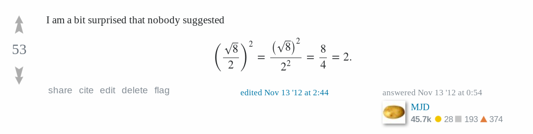 A screenshot of a Math.SE post, with my name and potato avatar at the lower-right corner