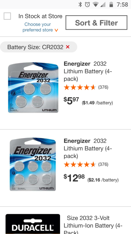 A screenshot of an online store offering a four-pack of batteries for $5.97 and a six-pack of the same batteries for $12.98.