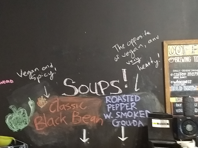 the blackboard behind the counter of the coffee shop, with menu as described