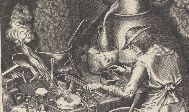 Detail of Peter Bruegel's 1588 woodcut of a stupid-looking alchemist sacrificing his last gold coin to a smoking crucible