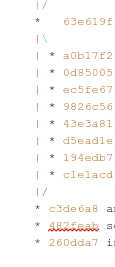 The output contains several Git commit IDs, each a random string of  seven hex digits.  The next-to-last, 482feab, has a red  underline.