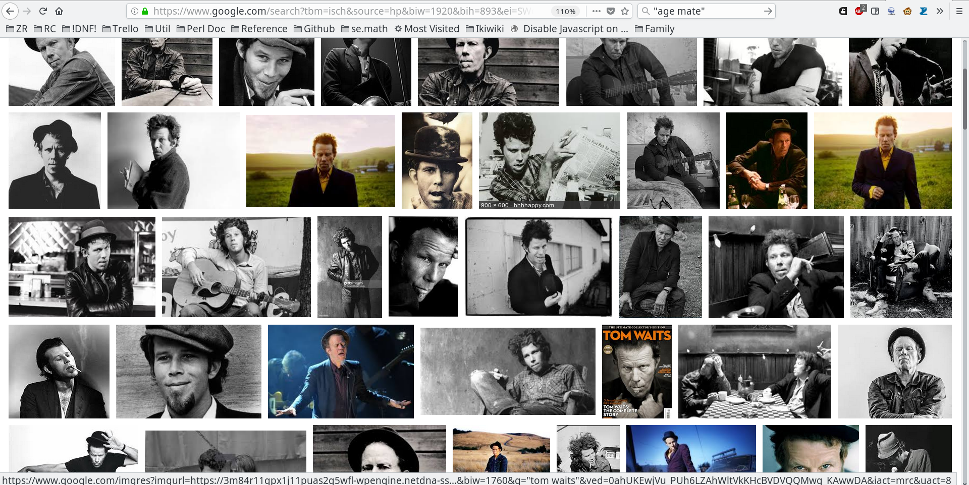 Screenshot of the first page of Google image search for 'Tom Waits'.  Almost all the pictures are black and white photographs; very few are in color.