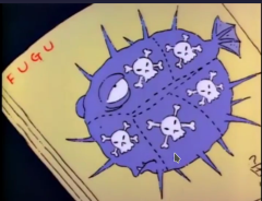 "A still from _The Simpsons_, showing the sushi chef's instruction book, open to the page about ""FUGU"".  A surly purple fish is depicted.  Several large sections are marked off with dotted lines and labeled with skulls.  Only one narrow sliver lacks a skull-and-crossbones."